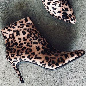 Sexy Delicious Leopard faux suede heeled BOOTIE